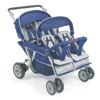 Commmercial Daycare Strollers Folding Triple Quad And